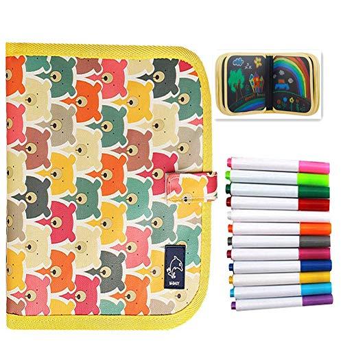 Bostar Tabla de Dibujo Portátil para Niños Libros Blandos de Pizarra Juguetes para Educación Preescolar para Bebés con Plumas de Colores (B, 14 páginas+12plumas)