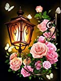 LZMAXY Full Round Drill 5D DIY Diamond Painting Environmental Crafts Full Diamond Embroidery Adult Children Painting Lamp Flower Butterfly Home Decor 30X40CM