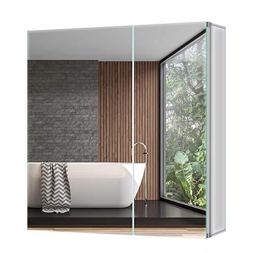Tokvon Pigeonwing 65x60cm Spiegelschrank Badezimmer Spiegelschrank Wandschrank Medizinschrank Aluminium Silber IP44 Doppel-türig