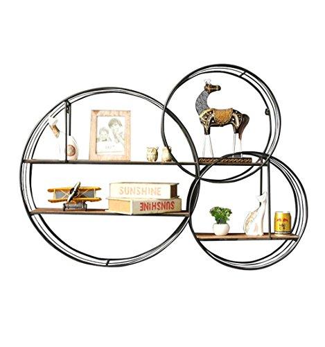 Étagère murale ronde étagère en bois de fer en métal étagères flottantes Étagères en forme de cube comme étagère de rangement étagère Vintage Decorations Design (Noir) (taille : 111×22×79.5cm)