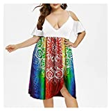 TGBN Women's High Waist Belly Concealing Deep V-Neck Strapless Summer Printed Plus Size Sexy Dress 2021 (3XL,C)