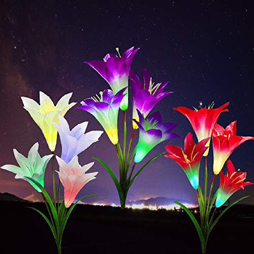 DasyFly Outdoor Solar Lights,3 Pack Solar Garden Lights Powered Waterproof Lights with 12 Lily Flowers,Solar Lights Outdoor Decorative for Garden,Patio,Backyard