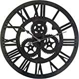 Reloj de Pared Vintage de Madera/abs, Reloj Decorativo Retro Colgado con Mecanismo Silencioso, Decoración para Salón, Oficina, Bar, Cocina Dormitorio, 45 cm diametro