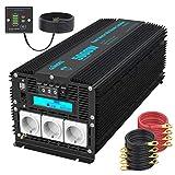 Inversor de Corriente 5000W/10000W Onda Modificada Convertidor 12V 220V 230V con Mando a Distancia Pantalla LCD con 3 AC Tomas para Coche de camión Caravana RV