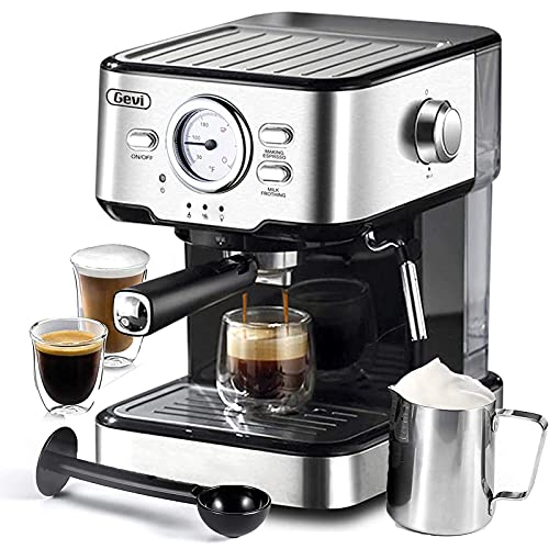 Espresso Machines 15 Bar Cappuccino Machine with Adjustable Milk Frother for Espresso, Latte and Mocha, 1.5L Removable Water Tank and Double Temperature Control System, Black, 1100W