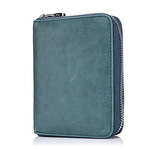 Boshiho RFID Blocking 24 Slot Credit Card Holder Wallet Real Leather Multi Card Organizer Wallet with Zipper (Blue)