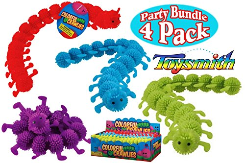 Toysmith Colorful Crawlies Red, Blue, Green & Purple Complete Party Set Bundle - 4 Pack