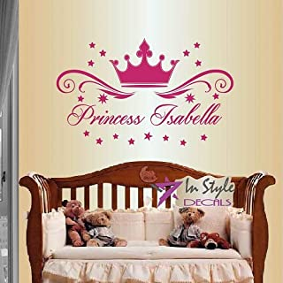 Wall Vinyl Decal Home Decor Art Sticker Princess Crown With Stars Customized Name Girl Kids Nursery Play Room Removable Stylish Mural Unique Design 376
