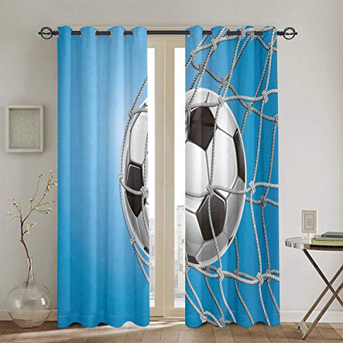 Dfform Vorhänge, Fußballtor Fußball In Net Entertainment Spielen für den Gewinn des aktiven Lebensstils, Wohnzimmer Schlafzimmer Fenstervorhänge 2 Panel Set104in x72in (260cm x180cm)