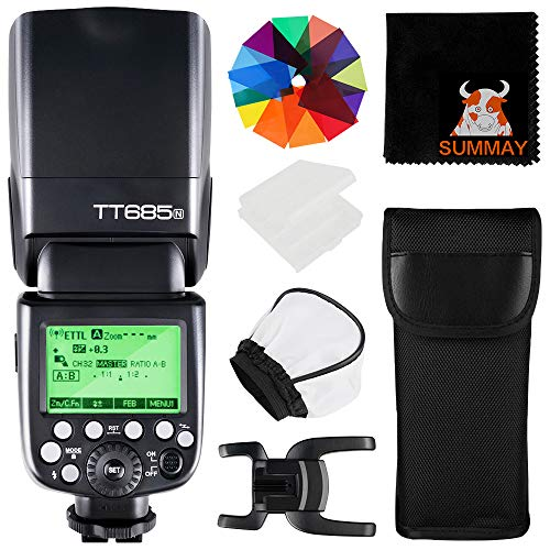 GODOX TT685N Thinklite TTL Flash Speedlite 2.4GHz GN60 1/8000s HSS Wireless Master Slave Off i-TTL Autoflash Speedlight for Nikon DSLR Cameras with Diffuser(TT685N)