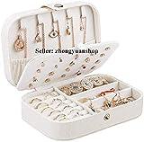 Petite boîte à bijoux de voyage en similicuir pour bagues, boucles d'oreilles, colliers, bracelets - Boîte cadeau pour filles et femmes