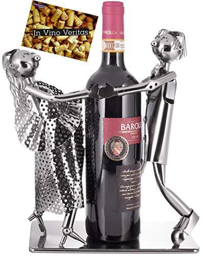 Brubaker Portabottiglie Vino Coppia di Ballo - Coppia Scultura - Supporto per Bottiglie di Metallo - con Biglietto d'Auguri per Il Vino Regalo