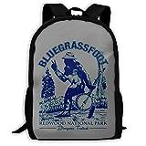 Lightweight Bluegrass Banjo T Shirt Mandolin Printed School Backpack Water Resistant Travel Rucksack