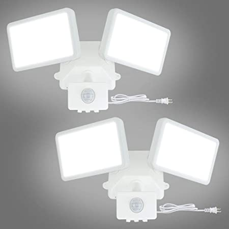 Twin Flood Light External Wall Security Sensor Movement Motion Detector LED SMD