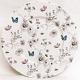 fromeuropewithlove Secret Garden Platos de jardín de 20 cm, juego de 6 platos de porcelana fina, diseño de flores y mariposas y abejas, decorados a mano en Reino Unido
