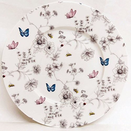 fromeuropewithlove Secret Garden Plates 8' 20 cm Set of Six Fine Bone China Flowers Butterflies and Bees Breakfast Plates Hand Decorated in UK
