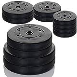 LCP Sports Hantelscheiben Set, Kunststoff Gewichte mit 31 mm Bohrung, 2x5 kg Plus 2x10 kg