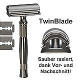 NOUVEAU: GIP - Double lame rasoir / rasoir avec poignée en acier inoxydable - le rasoir système pour rasoir (pas cher) classique