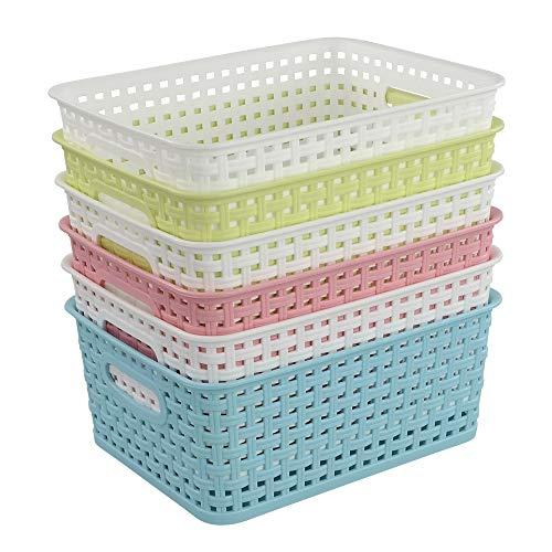 Ucake Cestas Cestos de Mimbre de Almacenamiento de Plástico, Color Blanco Azul Verde Rosa, 6 Unidades
