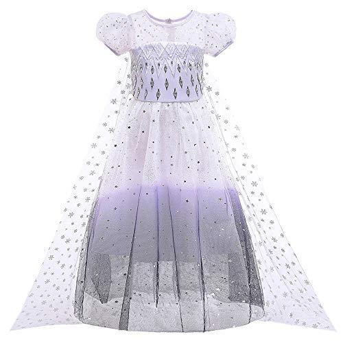 O.AMBW Vestido Princesa para nia de 2 a 10 aos Disfraz de Frozen Princesa Elsa Vestido Largo Blanco y Negro con Capa Mangas Puff Regalo cumpleaos Disfraces para nias admiradoras de Frozen