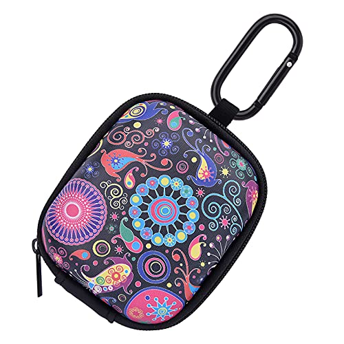 Earbud Case, AIRSPO AirPods Pro Case Earphone Organizer Carrying Case Small Storage Bag Hard EVA Shockproof Cover with Carabiner Clip (Black+Fireworks)