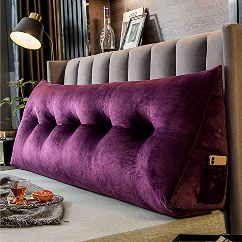 HUANXA Velvet Double Bed Triangular Reading Pillow, Soft Triangular Wedge Pillow Tatami Mat Headboard Cushion Never Collapse Removable Washing Cover Lumbar Pad Sofa Backrest-120cm/47inch-Deep purple