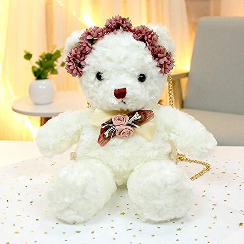 Pluche Pop Beertas knuffel teddybeer pop, prinses knuffel beer schoudertas-witte berenzak _30cm