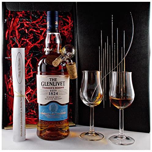 Geschenk Glenlivet Founders Reserve Whisky + Portionierer + 2 Bugatti Gläser
