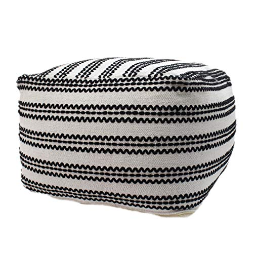 Christopher Knight Home Lillian Large Square Casual Pouf, Contemporary, Black and Natural Cotton