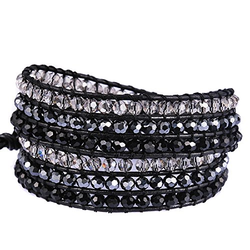 New! Genuine Leather Bracelet Multi Colors Beads Wrap Bracelet Nice Gift! (2 Wraps, Facet Rhinestone)