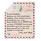 Bodosac Airmail Blanket 60x50 inch to My Daughter Letter Printed Quilts Mom for Daughter's Air Mail Blanket Positive Encourage and Love Daughter's Flannel Blanket Gifts (130 x150)