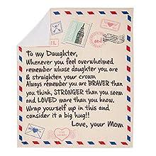 Bodosac Airmail Manta para mi hija con letras impresas para mamá para hija, manta de franela para favorecer positivamente y amor e hija (130 x 150)