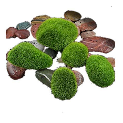 VENMO Micro Landschaft Fee Garten Miniatur Dekoration Ornament künstliche gefälschte Moos Rasen moosigen Stein Modell Spielzeug DIY Zubehör Papier Ziegel Stein Moos rustikale Wirkung (Green, M)