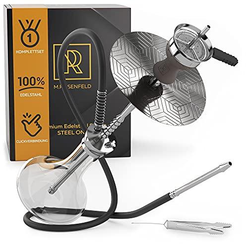 M. ROSENFELD Shisha Edelstahl 2 Anschlüsse – Steel ONE - 70cm Edelstahl Shisha Set mittel Silber Komplettset für die Kenner - unschlagbare Langlebigkeit - Mit Click Verschluss V2A (Edelstahl)