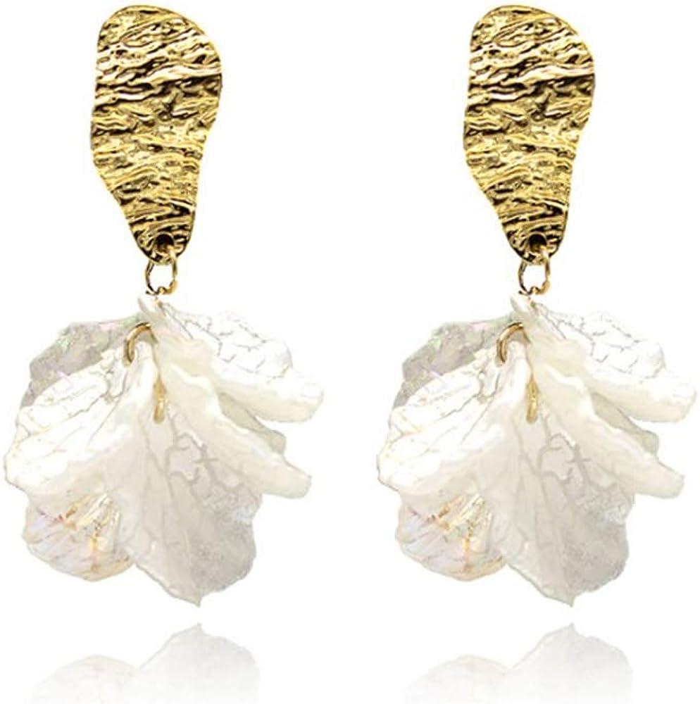 GRACE JUN White Flower Petal Clip on Earrings for Women Fashion Crystal Faux Pearl No Pierced Earring Charm Jewelry