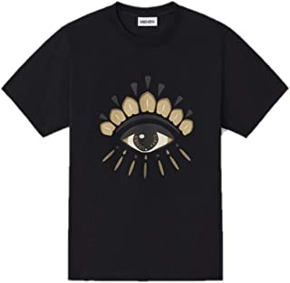Kenzo Men's T-Shirt Black Gold Eye 100% Cotton (Size Adjusted)