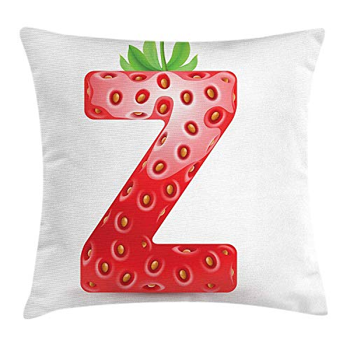 MLNHY Letter Z Throw Pillow Cushion Cover, Gourmet Food Tasty Summer Fruits Inspired Alphabet Z Typescript Design, Decorative Square Accent Pillow Case, 18 X 18 inches, Vermilion Green Orange