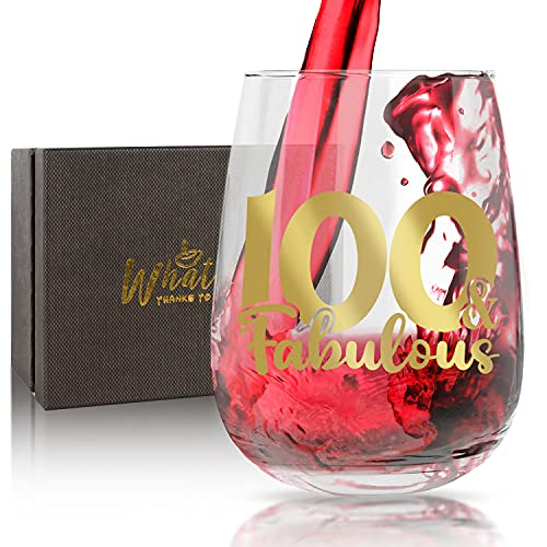 WHATCHA 100th and Fabulous Birthday Stemless Wine Glasses - One Hundred Funny Wine Glass AnniversaryGifts Idea 100 Years Oldfor Women Men Grandma Grandpa Friend 17oz Gold