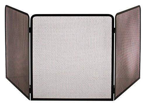 LES ATELIERS DIXNEUF 003.20224 Protection poêle acier noir TERZA, Hauteur 81 cm central 70 cm/Longueur volets latéraux 65 cm