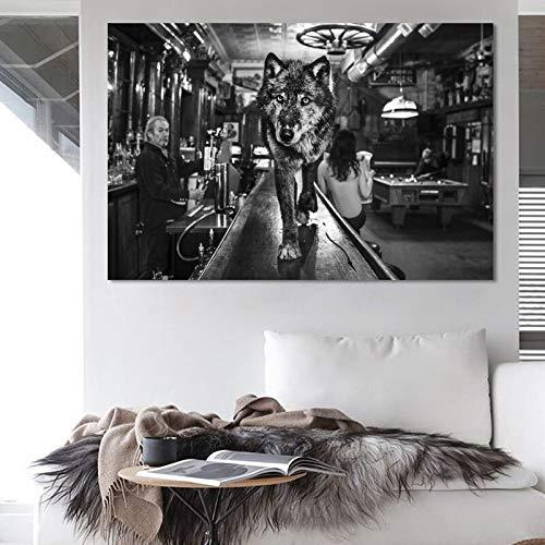 Cartel Moderno de Animales en Blanco y Negro y Lienzo de Pintura Tigre y Lobo, decoración de la Sala de Estar,Pintura sin Marco,40X60cm