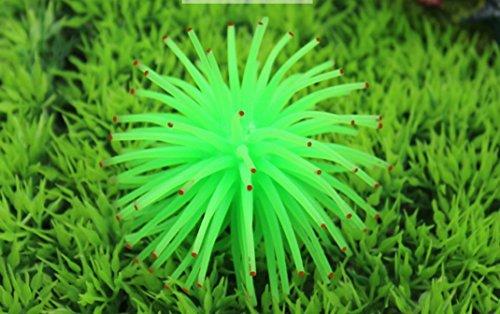 Nalmatoionme artificielle en silicone Coral Aquarium Décoration Accessoires (Vert avec pois)