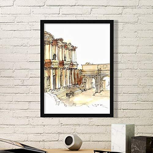 DIYthinker Ephesus in Izmir Türkei Einfachen Bilderrahmen Kunstdrucke Malereien Startseite Wandtattoo Geschenk Small Schwarz