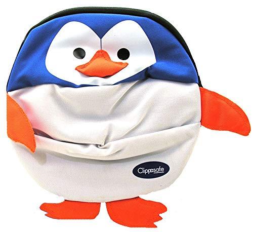Clippasafe - Zainetto per bimbi con gancio di sicurezza, fantasia: pinguino