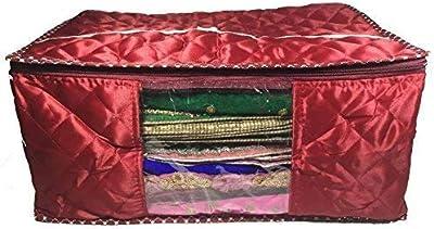 Fashion Bizz Premium Quilted Satin Large Saree Cover, Lahanga Cover,Wardrobe Organiser,Regular Clothes Bag -1 Piece