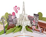 Paper Love Paris Valentines Day Pop Up Card, Handmade 3D Popup Greeting Cards for Valentines Day, Wedding, Anniversary, Love, Romance, Thinking of You, All Occasion | 5' x 7'