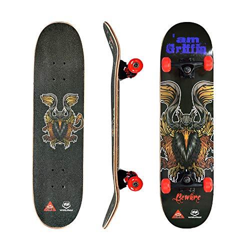 WIN.MAX Skateboard, Komplettboard mit ABEC Kugellager, 31 * 8 Zoll Holzboard aus 9 Fach Verleimte Ahornholz (Griffin)