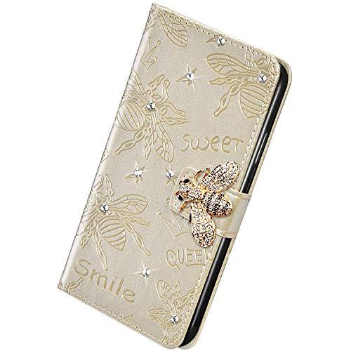 Herbests Kompatibel mit Huawei P Smart Plus 2019 Handyhülle Leder Klapphülle Glitzer 3D Bling Strass Diamant Biene Blumen Schutzhülle Flip Cover Brieftasche Leder Hülle mit Standfunktion,Gold