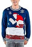Tipsy Elves Men's Santa Pooping Ugly Christmas Sweater - Funny Santa Xmas Sweater: Large