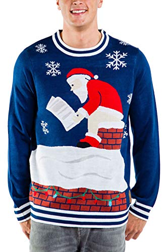 Tipsy Elves Men's Santa Pooping Ugly Christmas Sweater – Funny Santa Xmas Sweater: Medium Blue