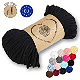 Amazinggirl Hilo Macrame 5 mm trapillo bobinas - Cuerda Algodon Cordon para Trenzado Tejer a Crochet Manualidades Negro
